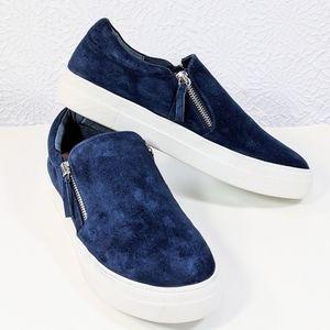 Steve Madden Glaammar Faux Suede Navy Blue Sneaker